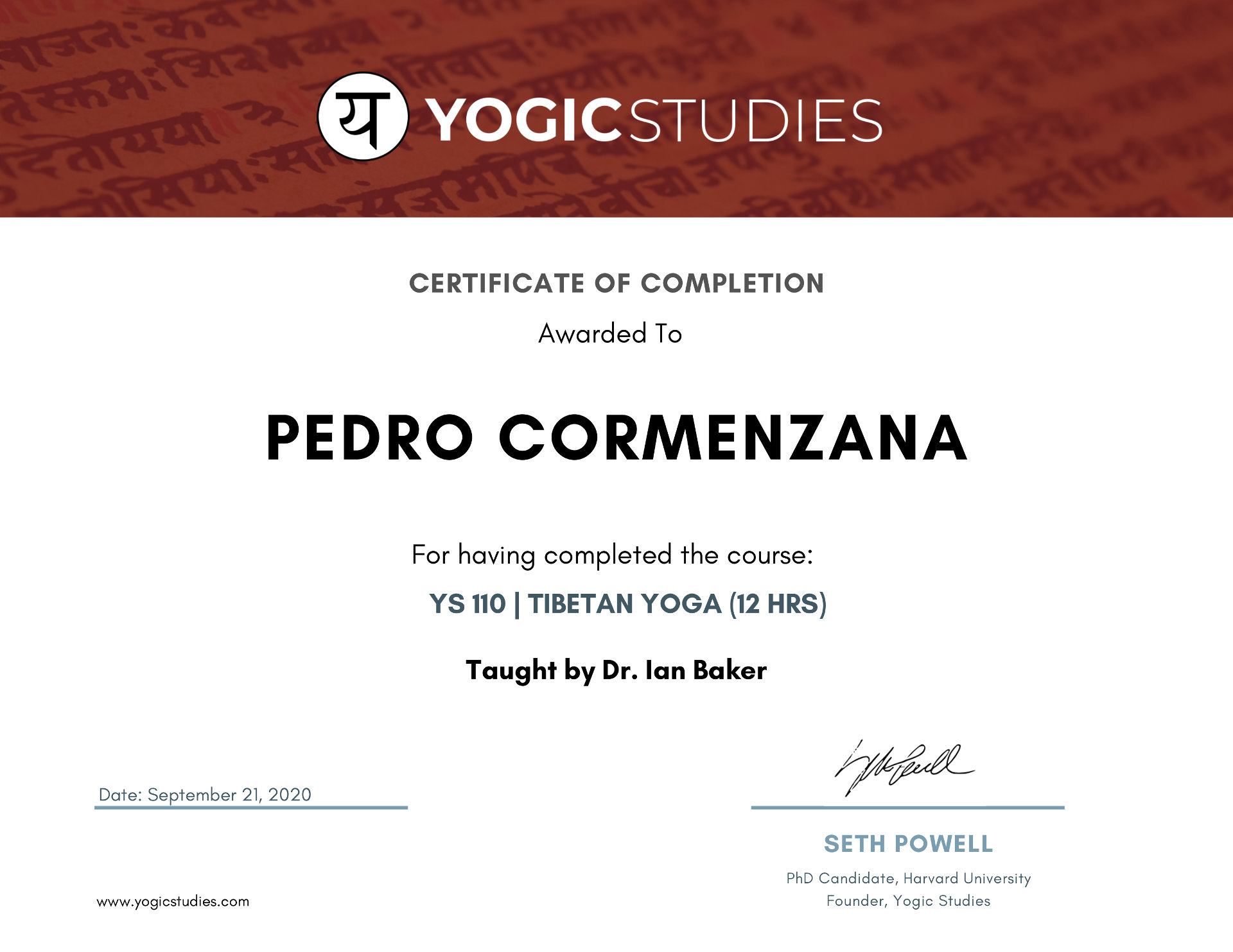 YS Certificate of Completion YS110 - Tibetan Yoga