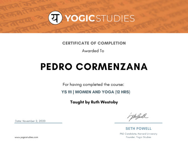 YS Certificate of Completion YS111 - Women and Yoga